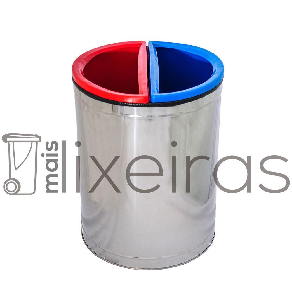 Lixeira Dupla Inox - 30 Litros