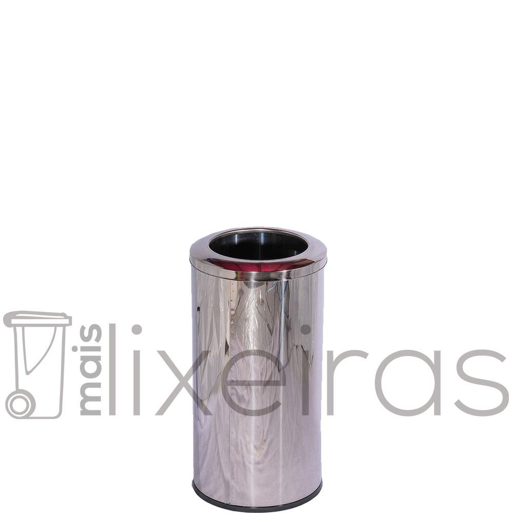 Lixeira Inox 25 litros com aro superior em aço Inox