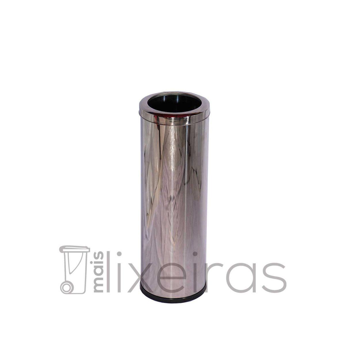 Lixeira Inox 40 litros com aro superior em aço Inox