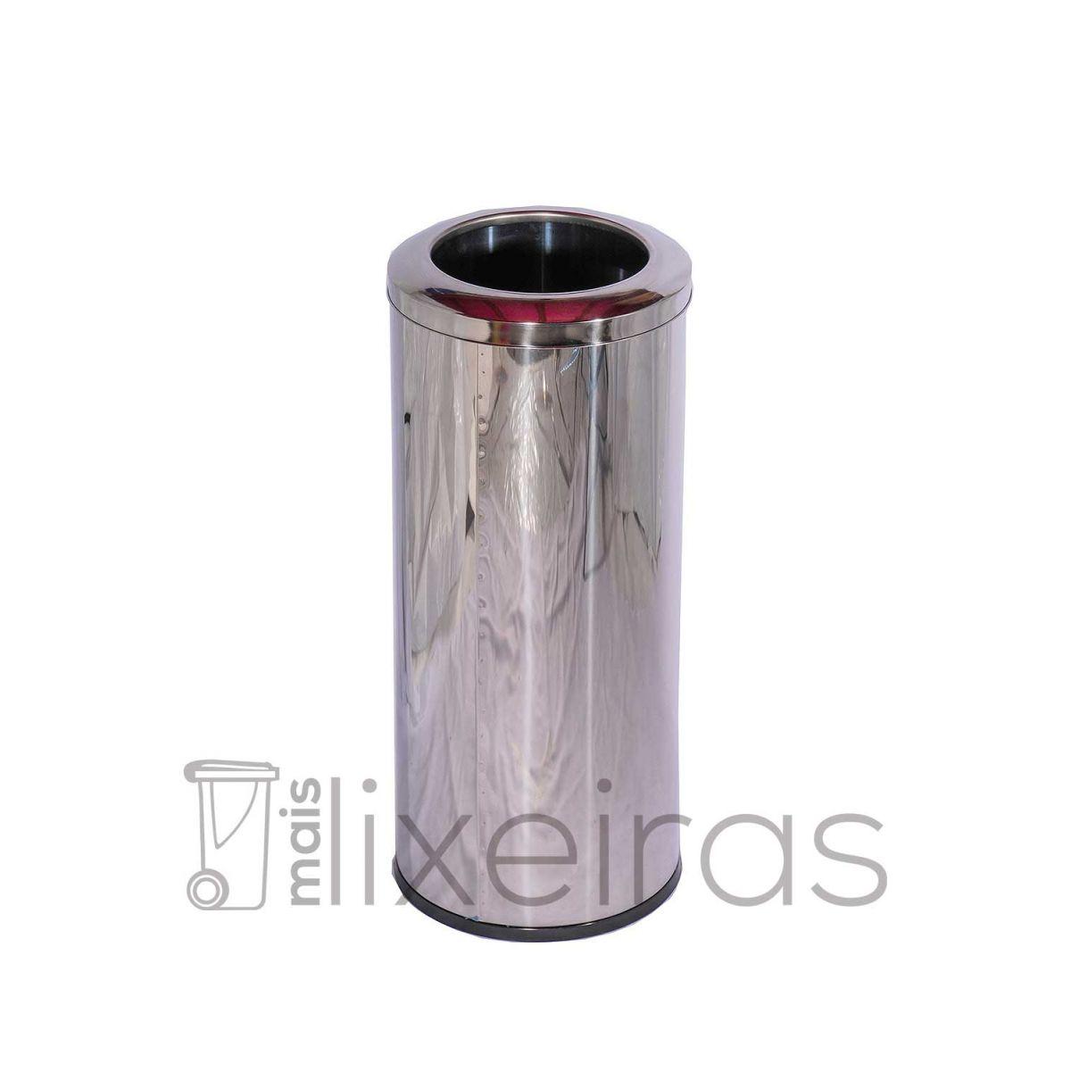 Lixeira Inox 50 litros com aro superior em aço Inox