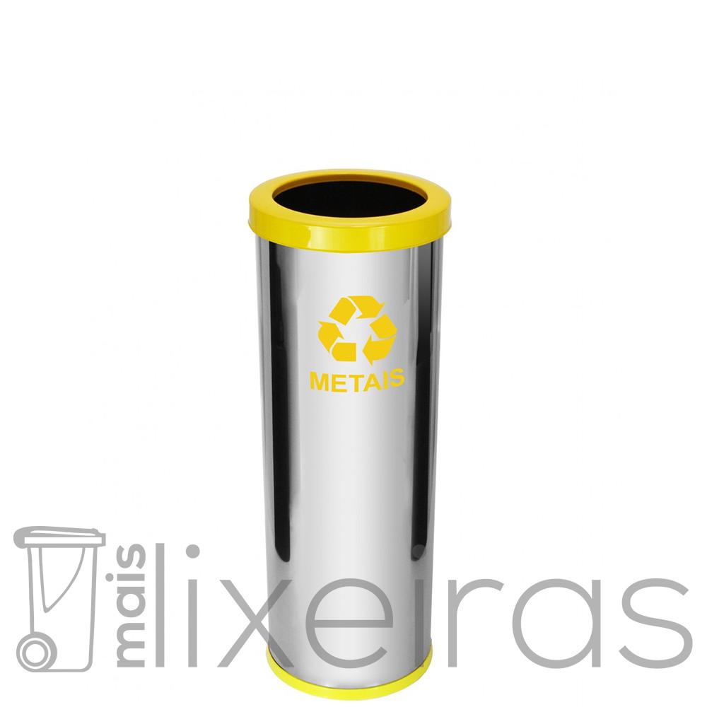 Lixeira inox com aro colorido - 40 litros