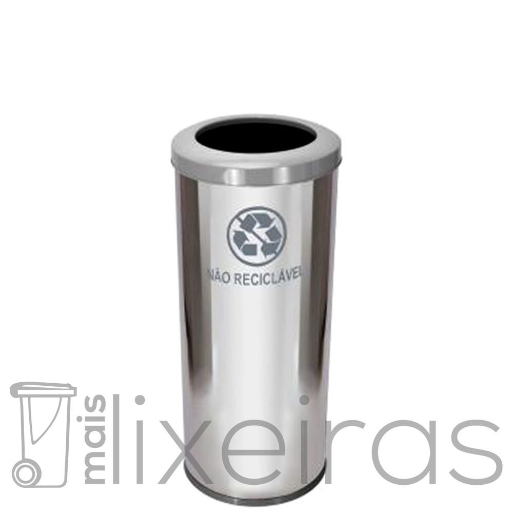 Lixeira inox com aro colorido - 50 litros