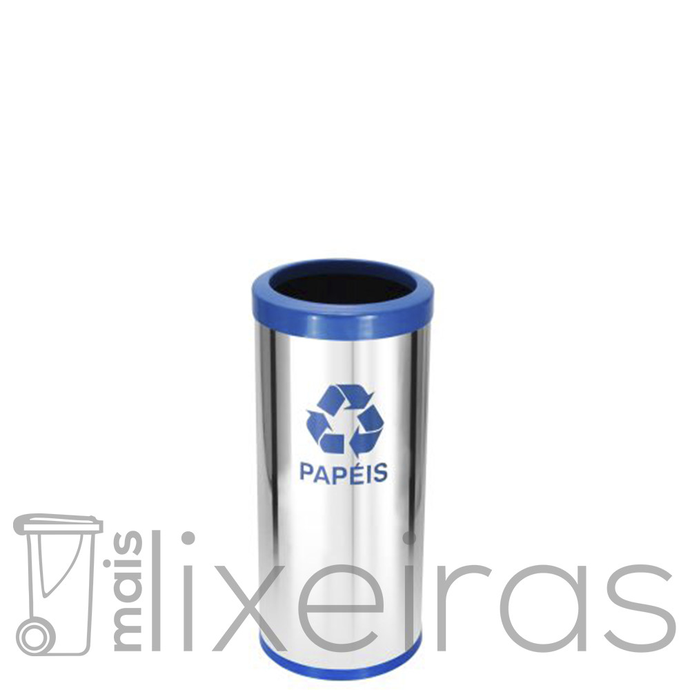 Lixeira Inox com aro plástico colorido - 25 litros