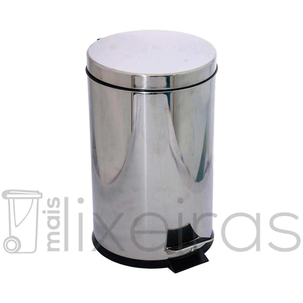 Lixeira inox com tampa e pedal 12 litros