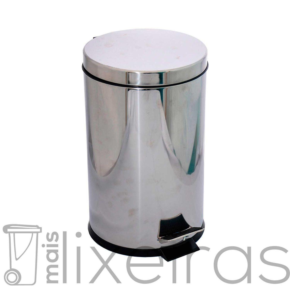 Lixeira inox com tampa e pedal 30 litros