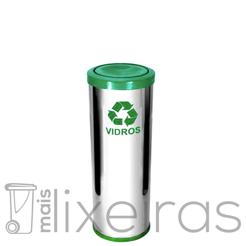 Lixeira inox com tampa plástica colorida - 40 litros