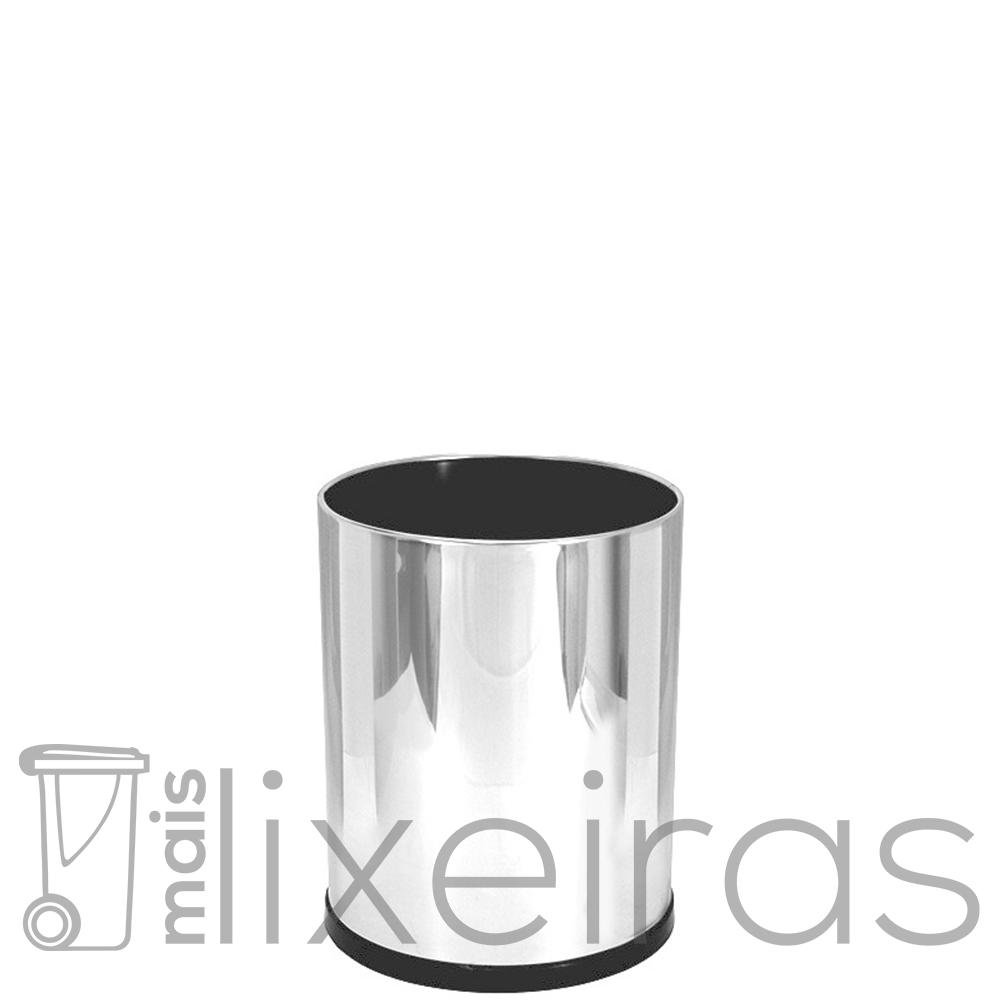 Lixeira inox lisa pequena tipo cestinho com fundo plástico preto - 14 litros