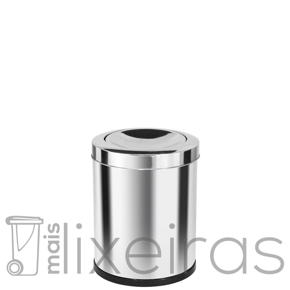 Lixeira inox pequena com tampa flip-top - 14 litros
