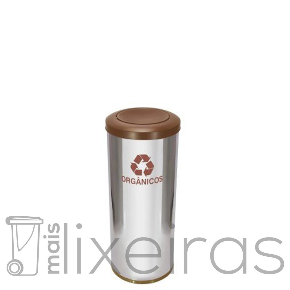 Lixeira Inox Premium 25 litros com tampa Flip-Top Colorida em aço Inox