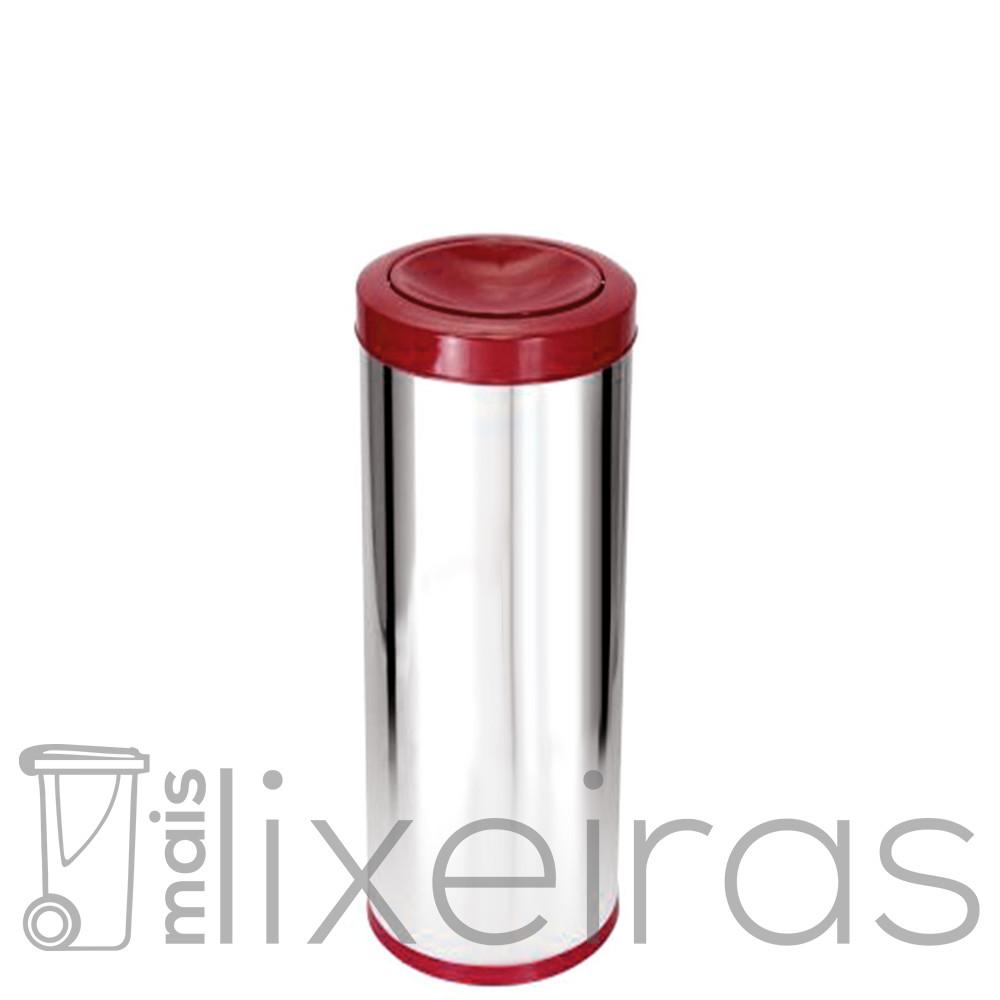 Lixeira Inox Premium 40 litros com tampa Flip-Top colorida em aço Inox