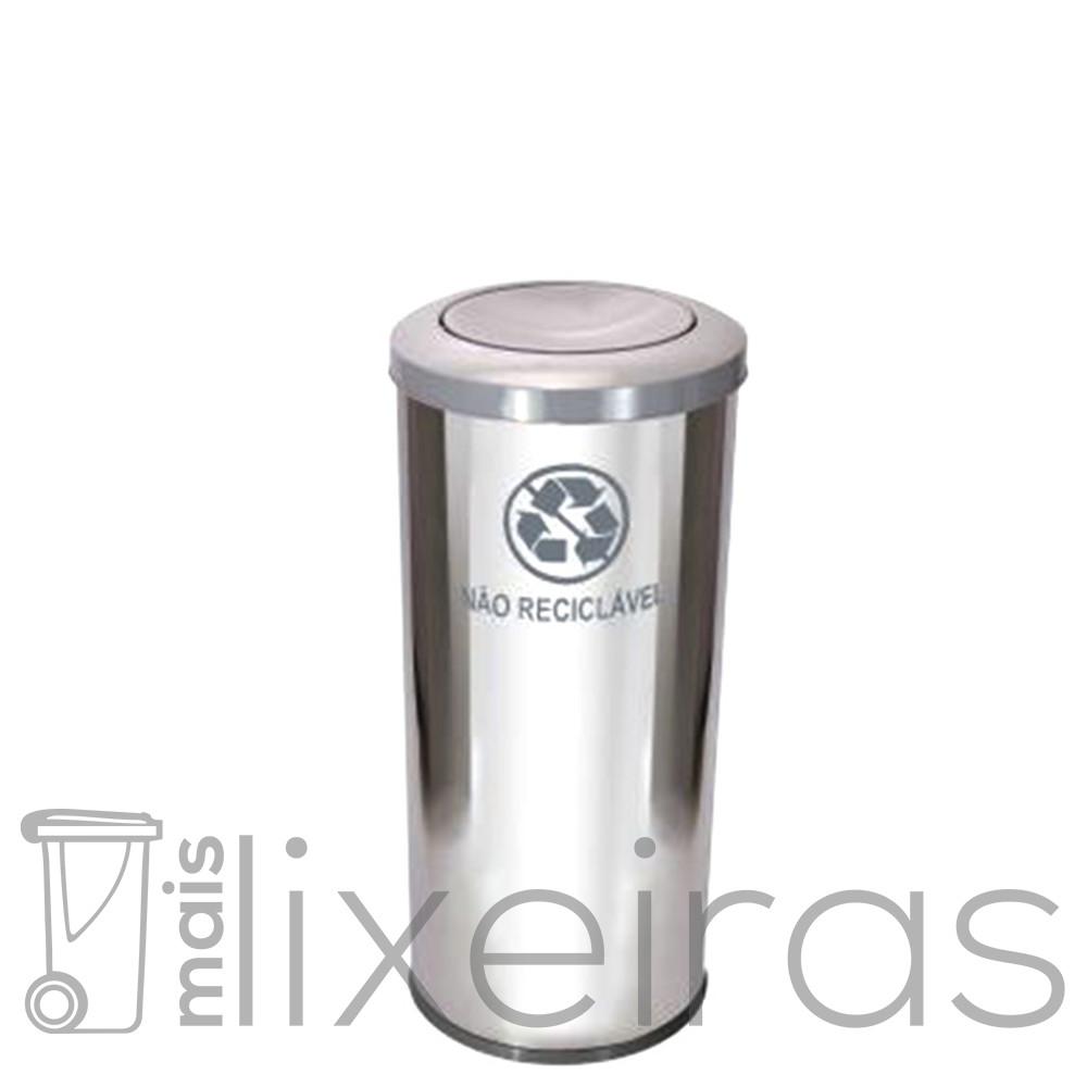 Lixeira Inox Premium 50 litros com tampa Flip-Top Colorida em aço Inox