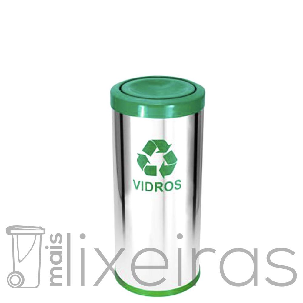 Lixeira inox com tampa plástica colorida - 25 litros