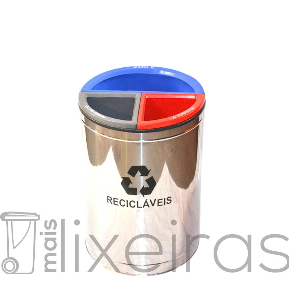 Lixeira MIX 3 em 1 Inox Exclusiva - 50 litros