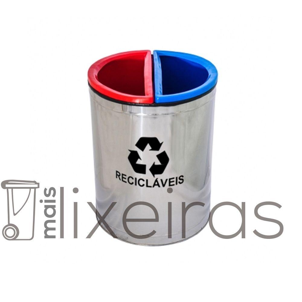 Lixeira MIX inox com 2 Divisões - 50 litros