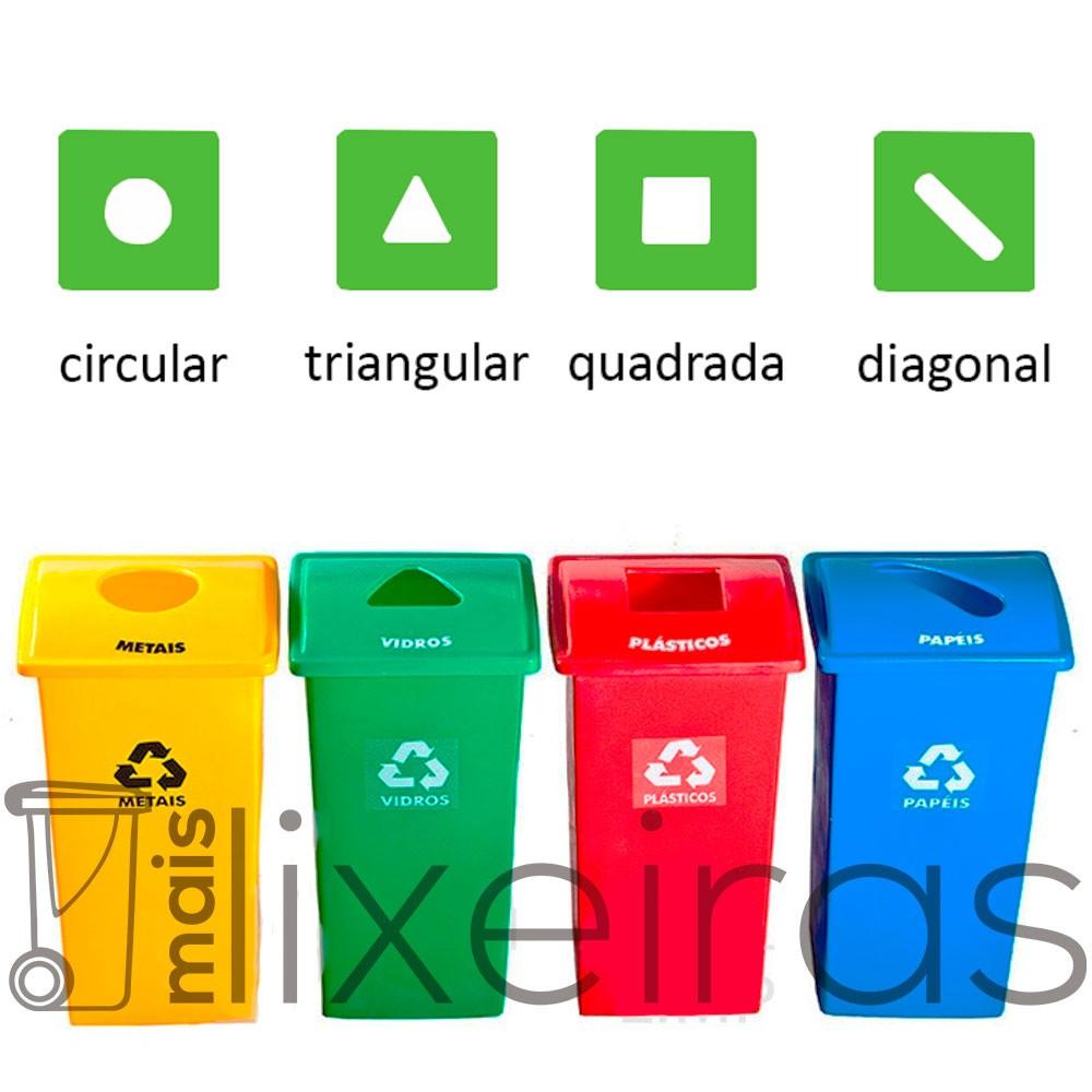 Lixeira para coleta seletiva com tampa personalizada - 100 litros