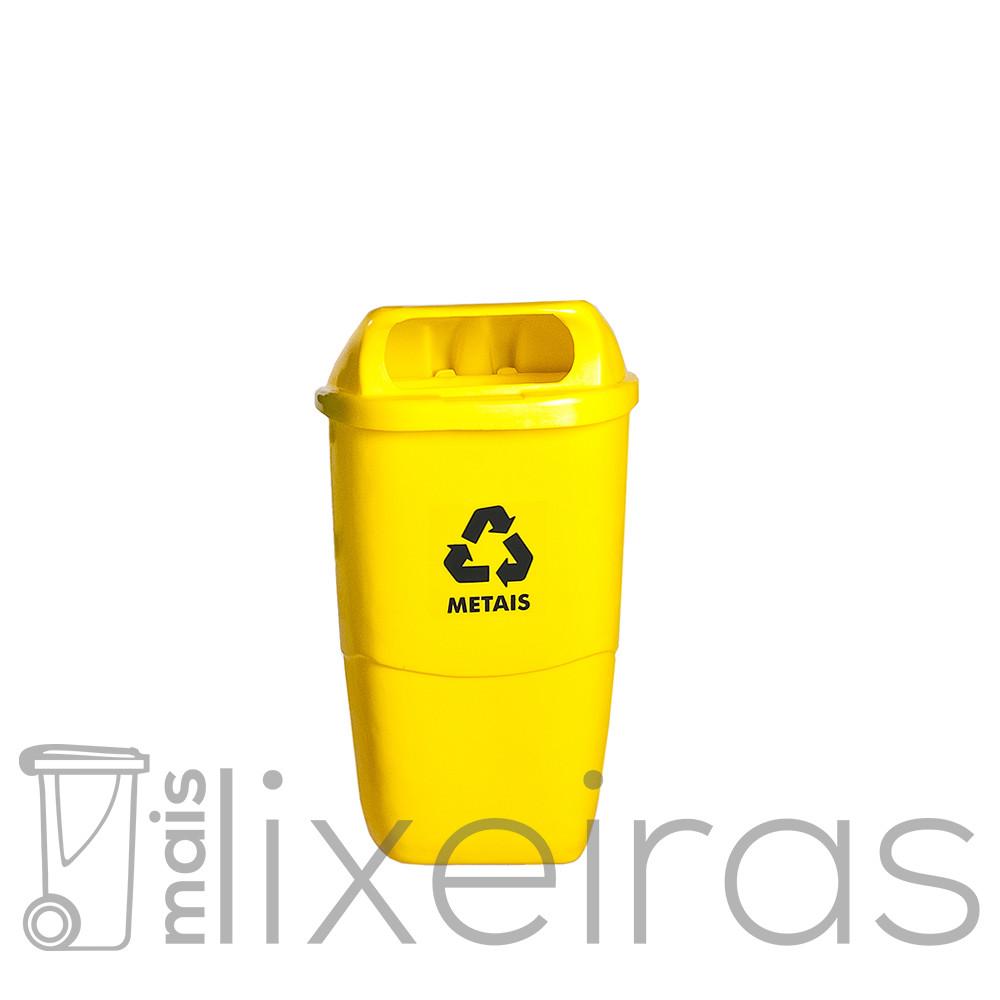 Lixeira  para Coleta Seletiva - fixação em poste ou parede - 50 litros