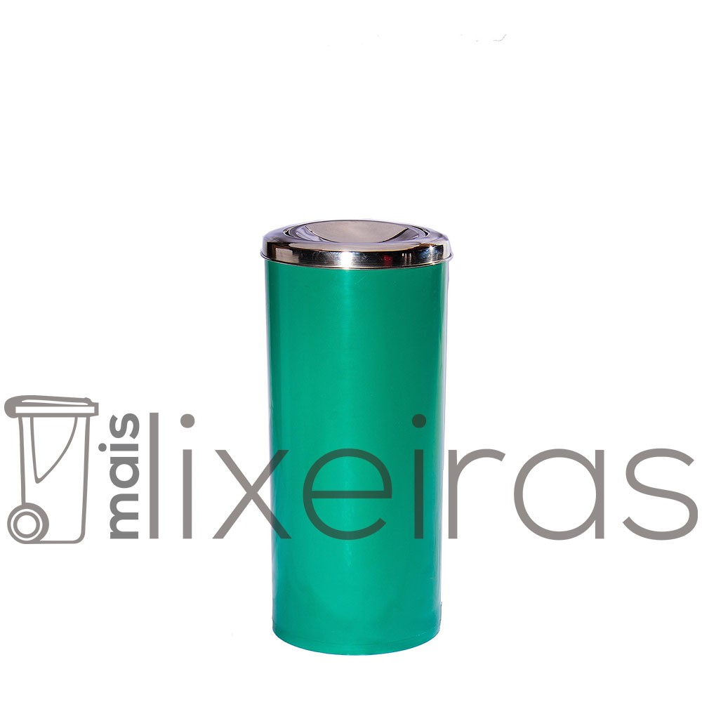 Lixeira plástica com tampa inox tipo flip-top - 25 litros