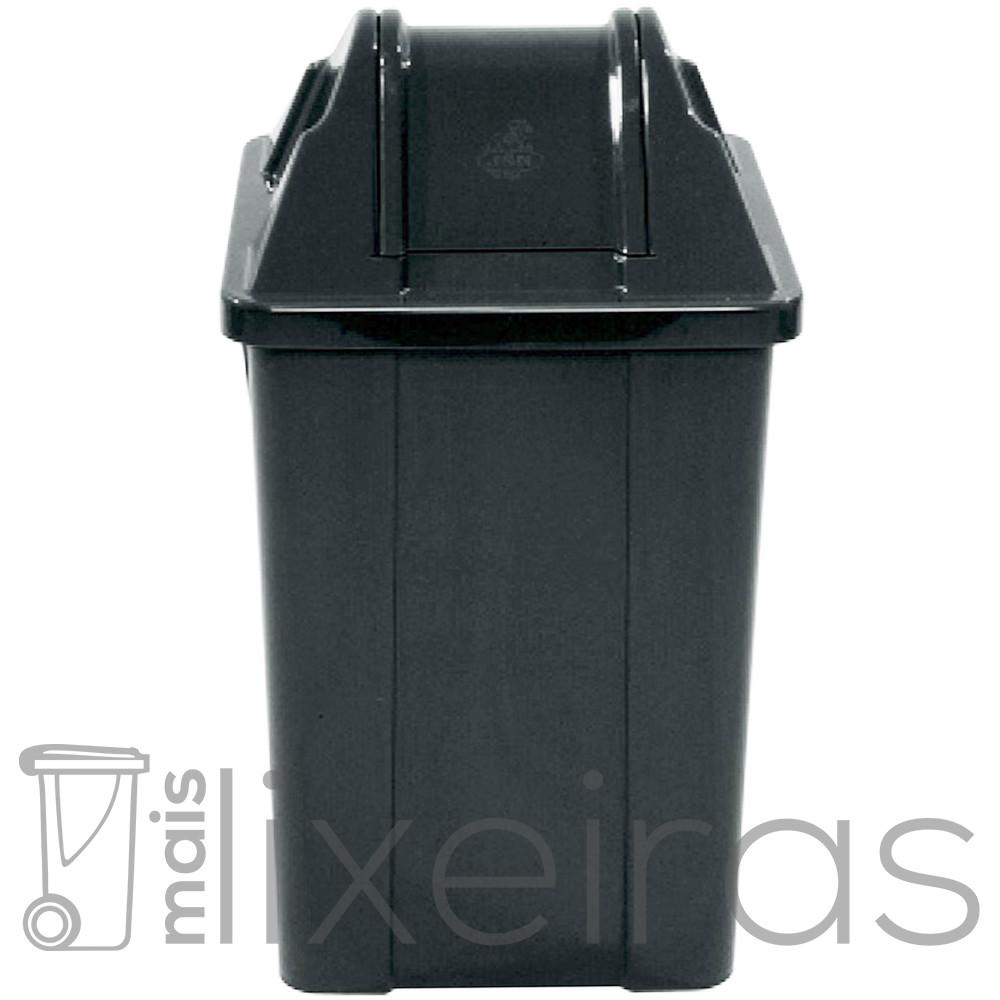 Lixeira plástica com tampa vai e vem - 100 litros