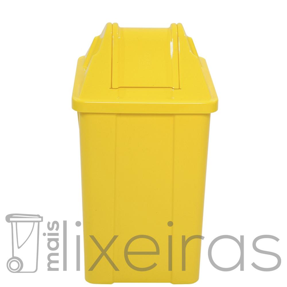 Lixeira plástica com tampa vai e vem - 60 litros