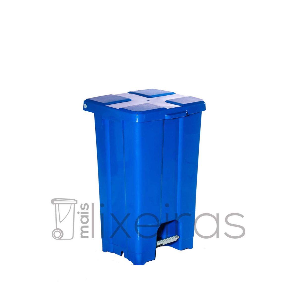 Lixeira plástica grande com tampa e pedal - 60 litros