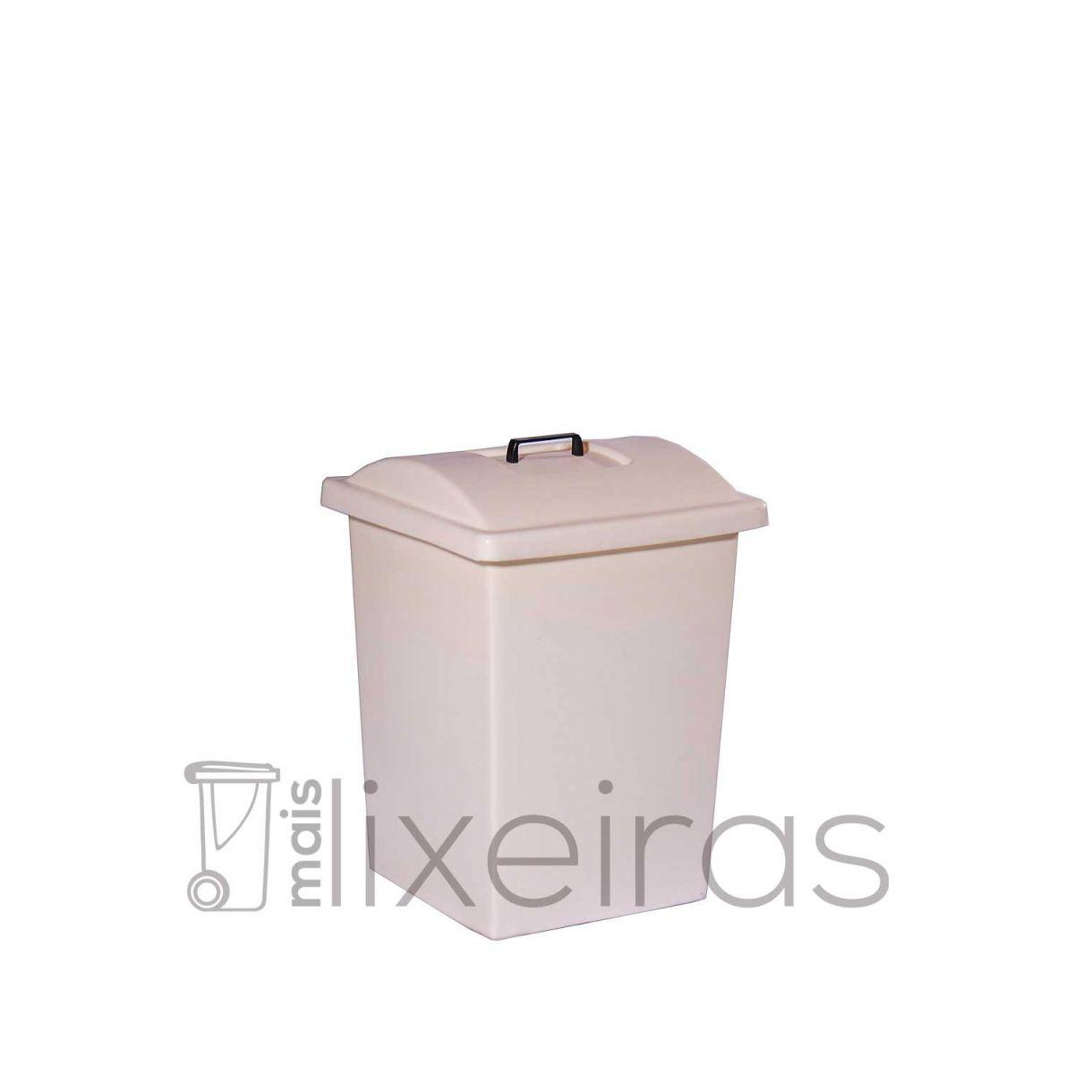 Lixeira plástica reforçada com tampa sobreposta - 40 litros