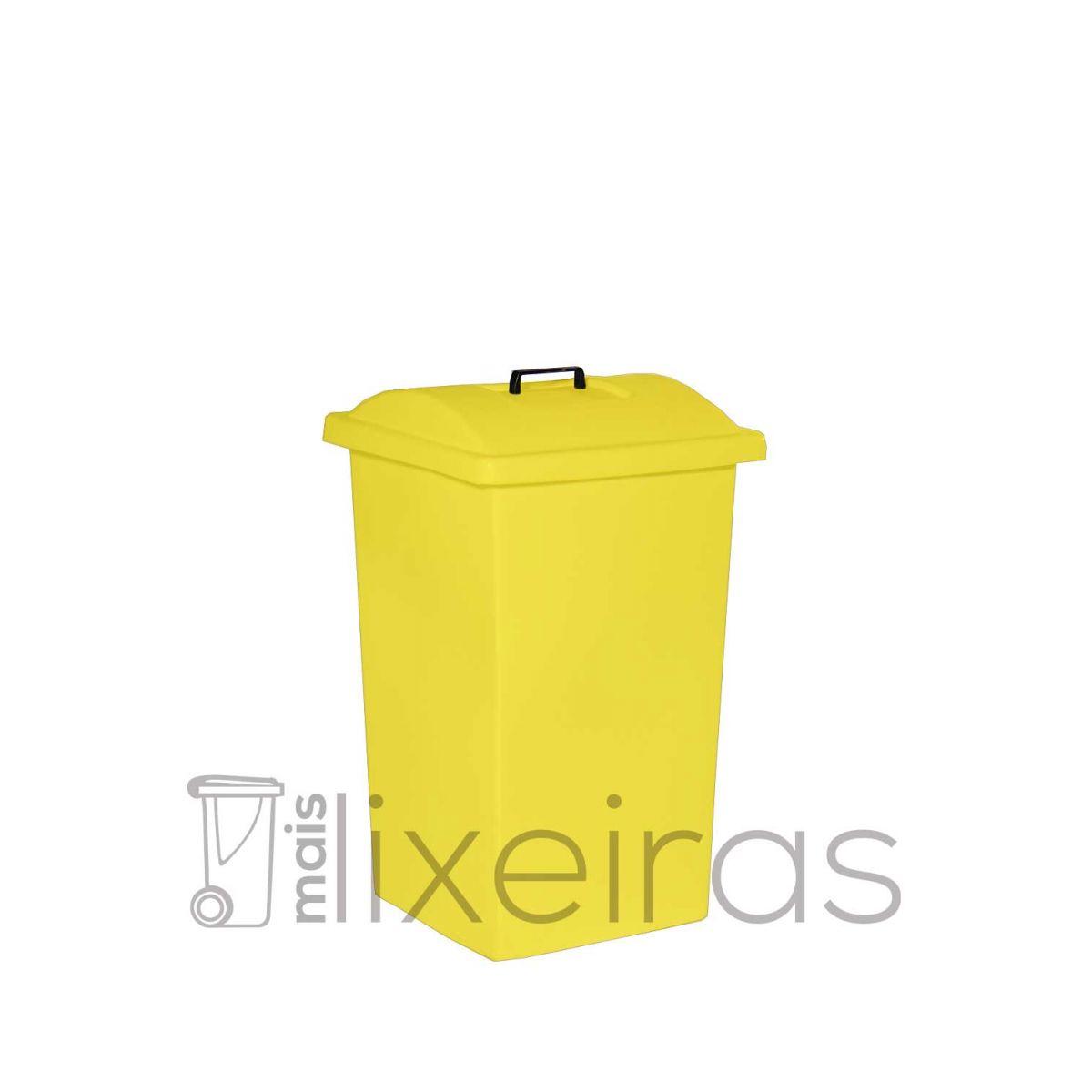 Lixeira plástica reforçada com tampa sobreposta - 60 litros