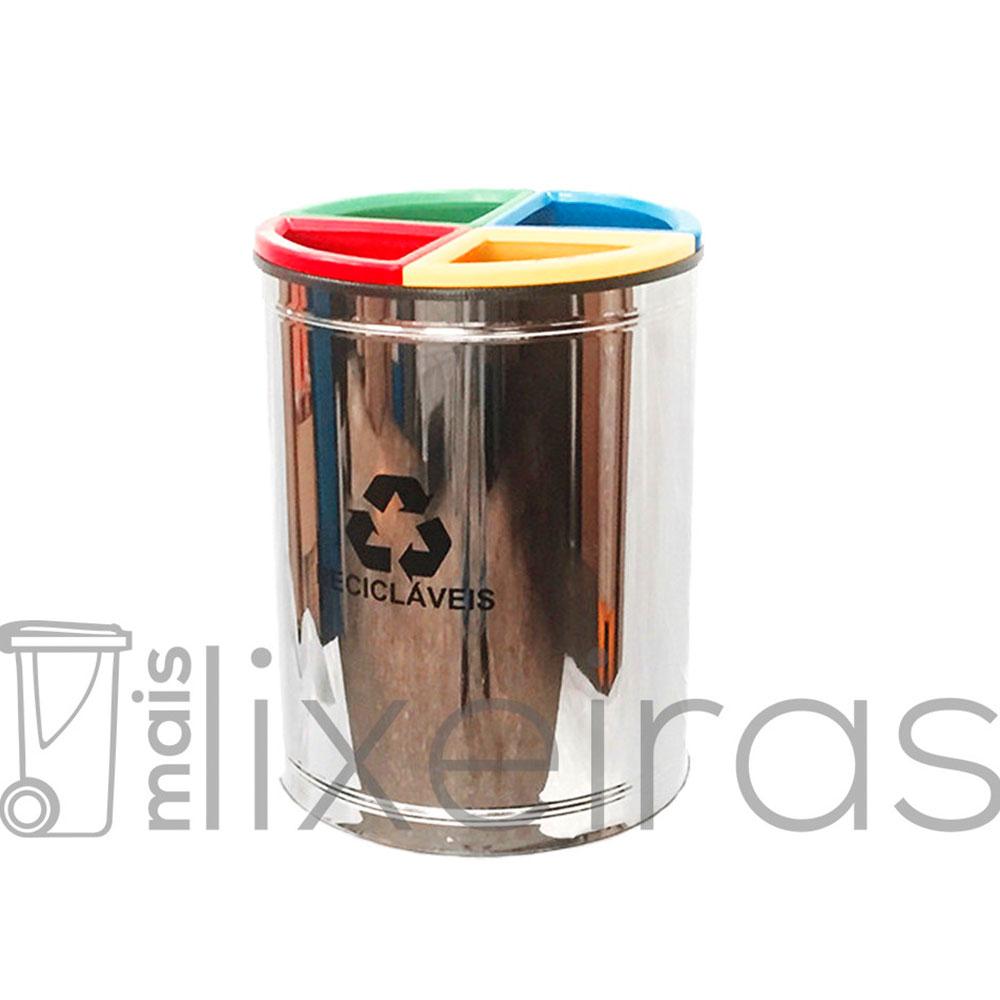 Lixeira Seletiva MIX Inox 50 litros com 4 Divisões