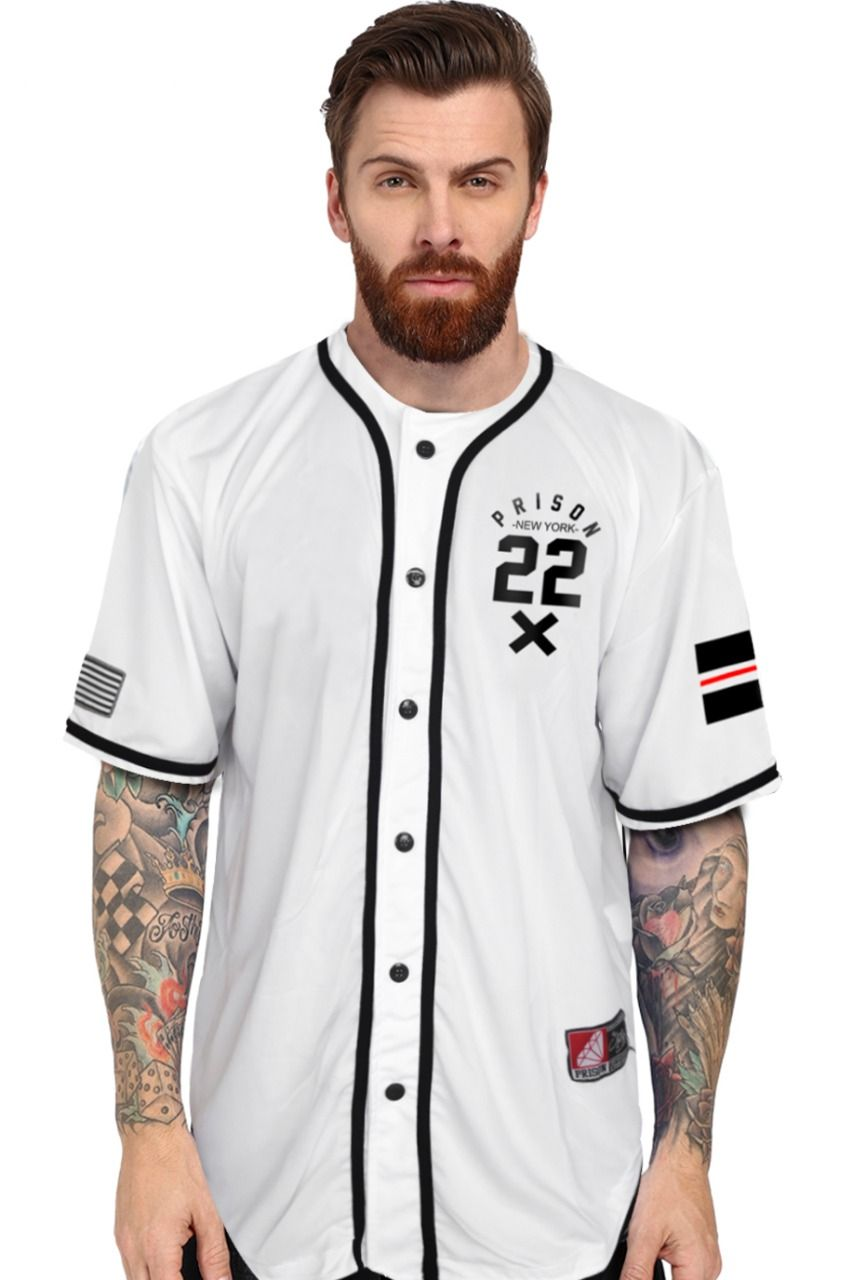 Camisa Baseball New York City Prison Branca