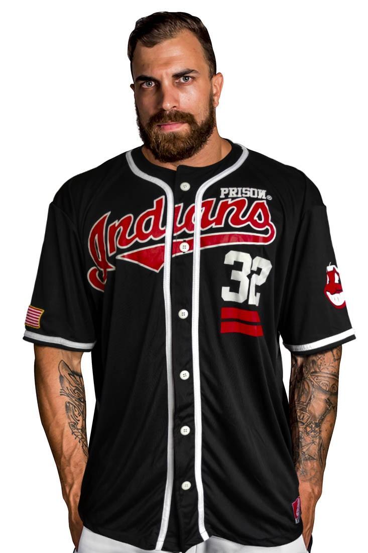 Camisa de Baseball Indians Preta
