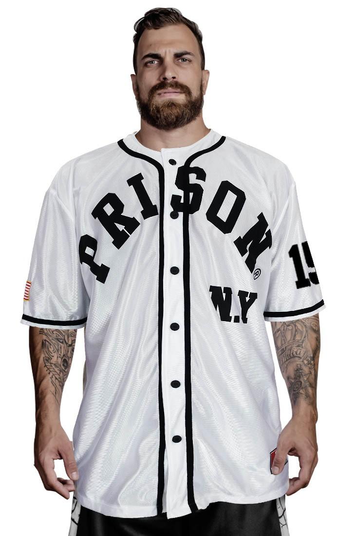 Camisa de Baseball NY 156 Prison Branca