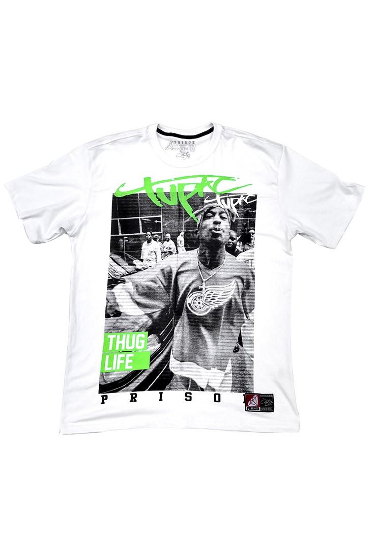 Camiseta 2PAC Green Prison Branca