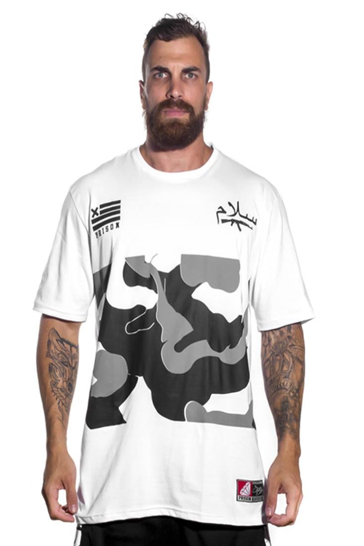 Camiseta street camuflada Gray Prison Branca