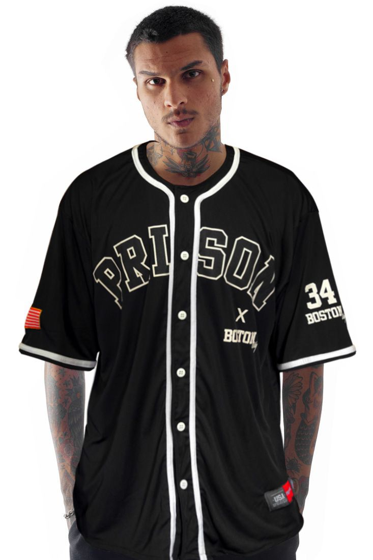Camiseta de Baseball Prison Americana Preta 46d7712e2167e