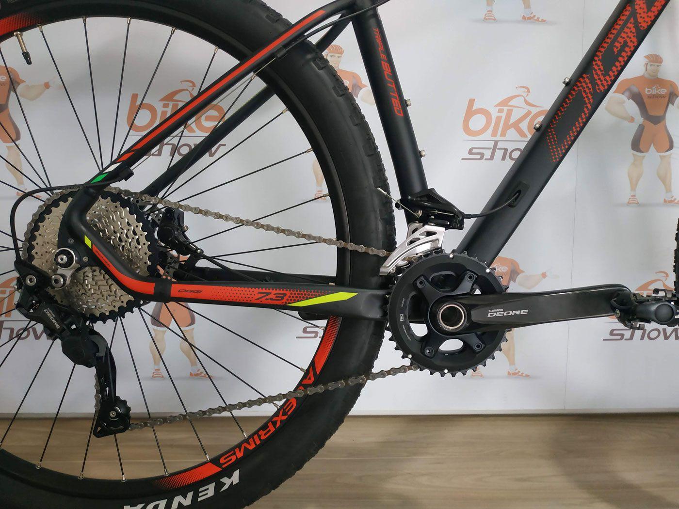 Bicicleta OGGI Big Whell 7.3 aro 29 2019 -  20V Shimano Deore M6000 - Suspensão Manitou Markhor - Preto/Vermelho/Amarelo + BRINDES