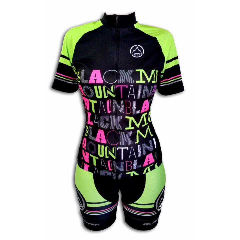 Bermuda Ciclismo Black Mountaim Lettering Feminina