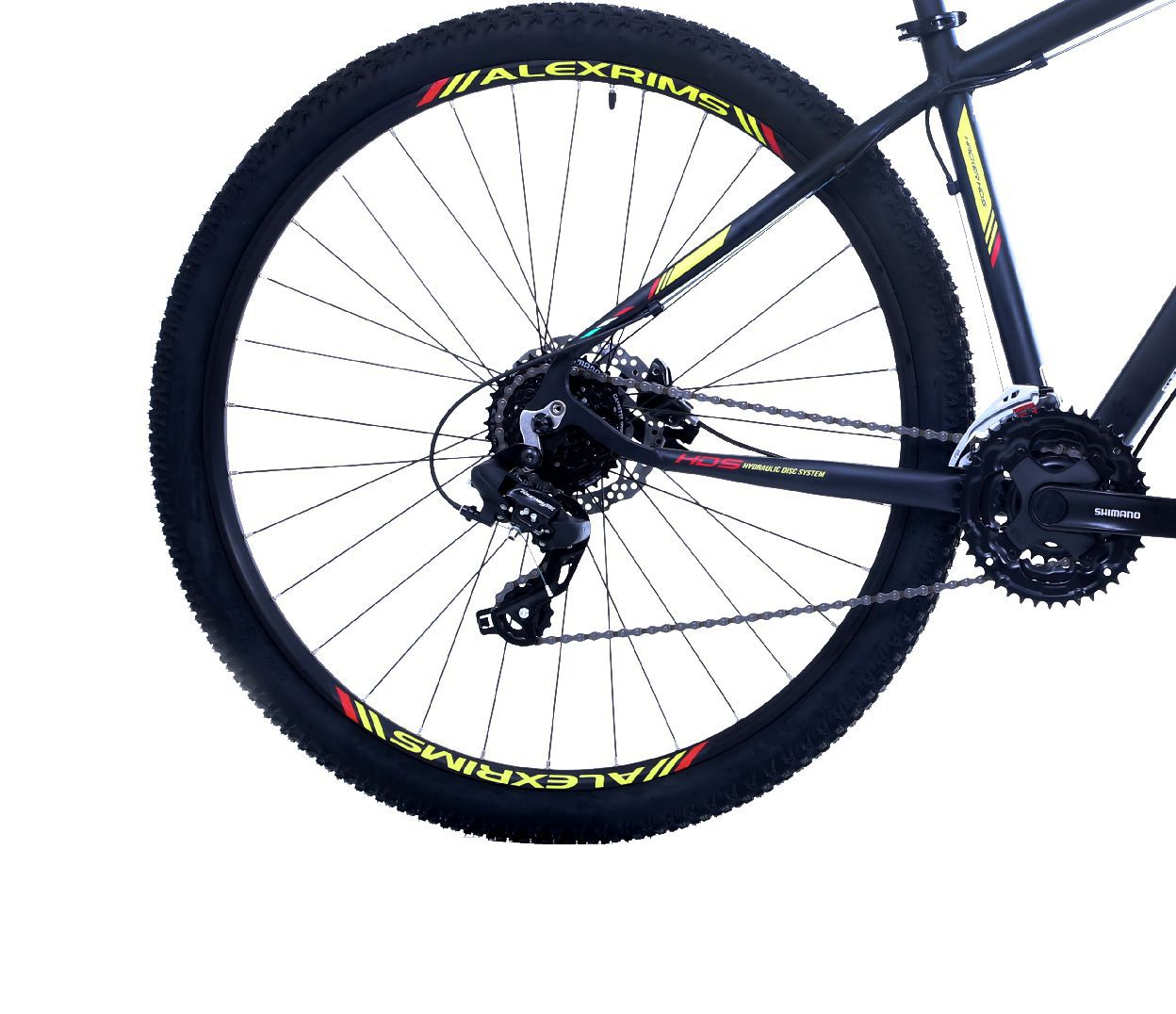 """Bicicleta 29"""" OGGI HACKER HDS 2019 - 24V  Preta e amarela"""