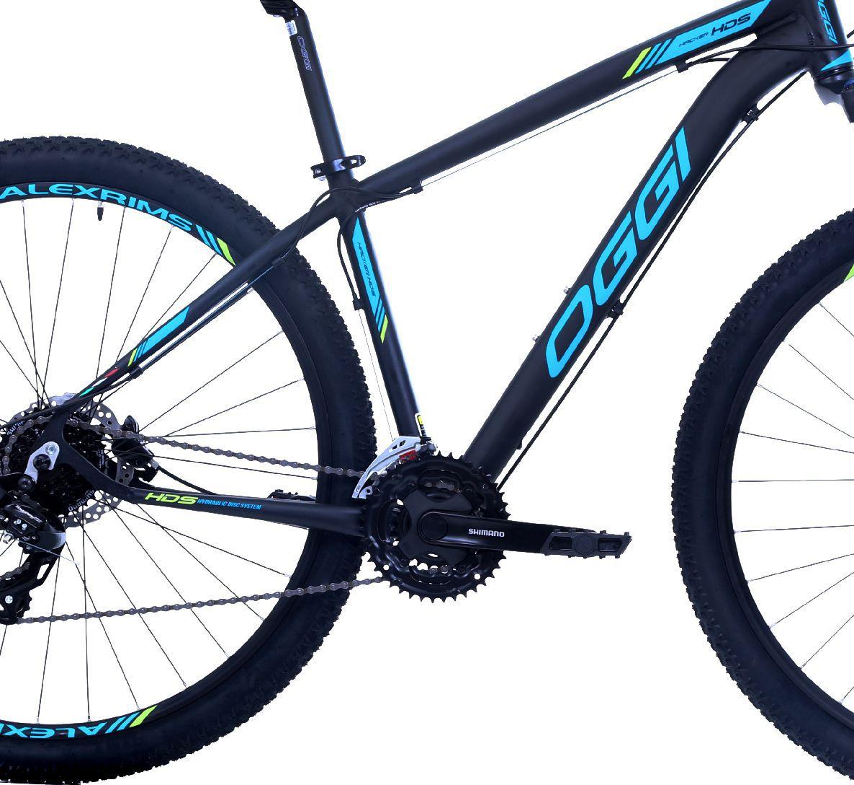 """Bicicleta 29"""" OGGI HACKER HDS - 24V  Preta e azul"""