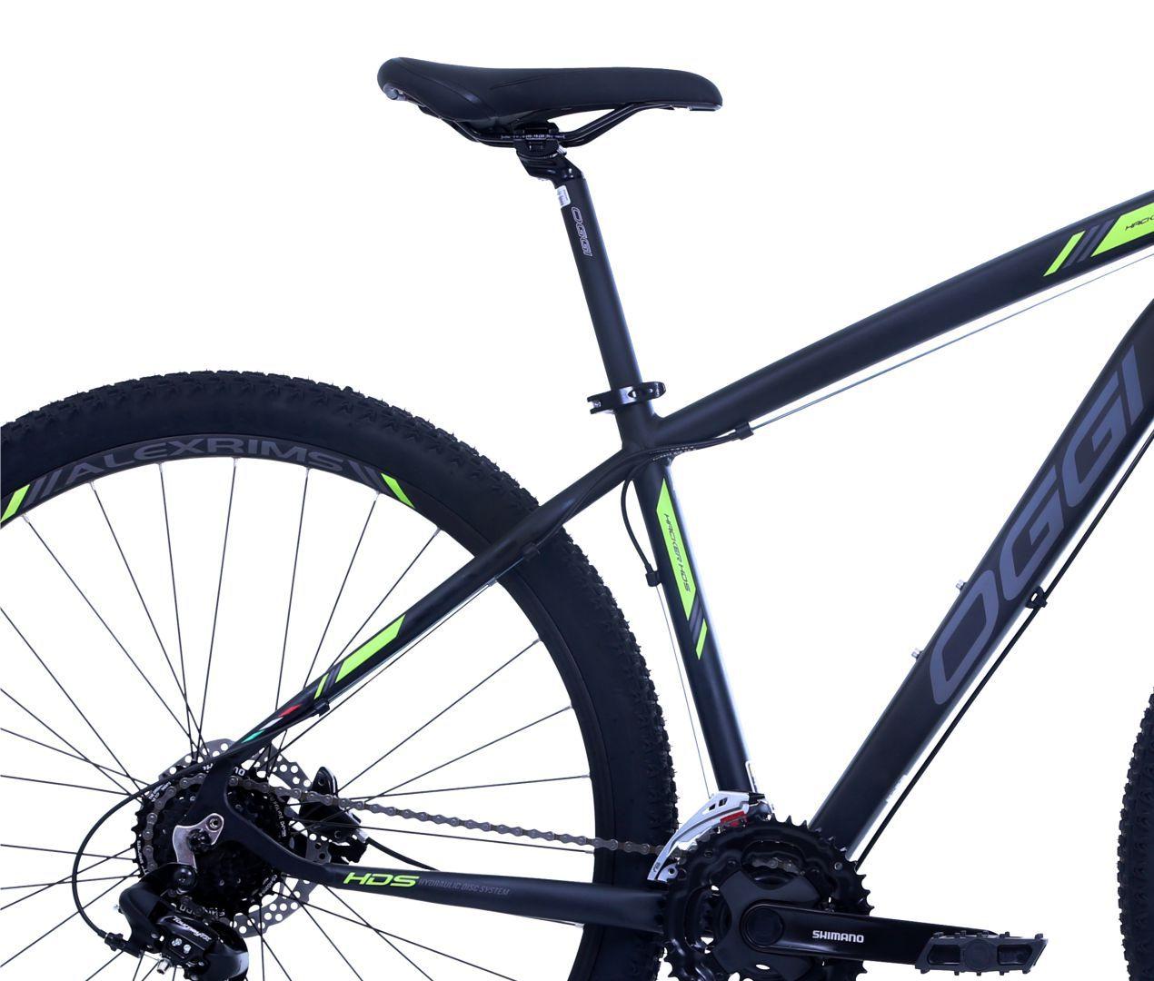 """Bicicleta 29"""" OGGI HACKER HDS 2019 - 24V  Preta e verde"""