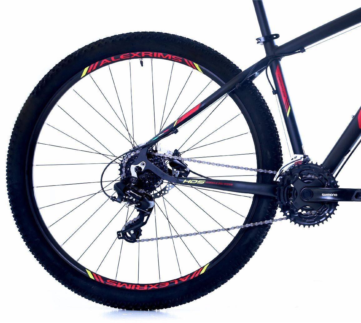 """Bicicleta 29"""" OGGI HACKER HDS 2019 - 24V  Preta e vermelha"""