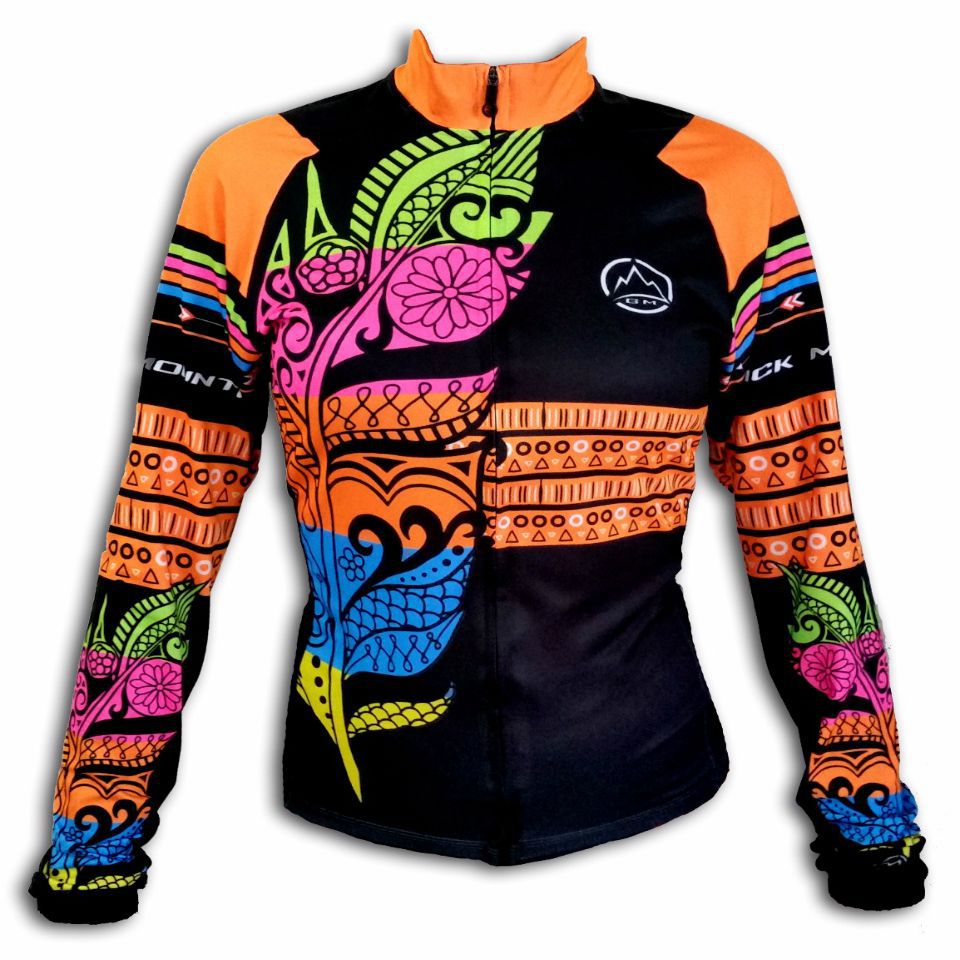 Camisa ciclismo manga longa Black Montaim Feather feminina