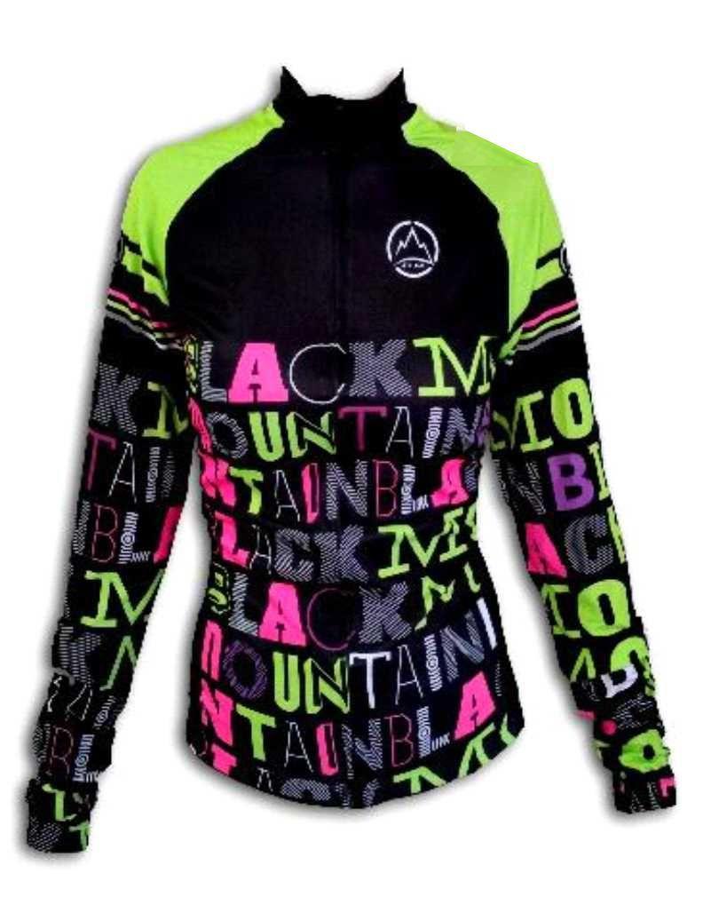 Camisa ciclismo manga longa Black Montaim Lettering feminina
