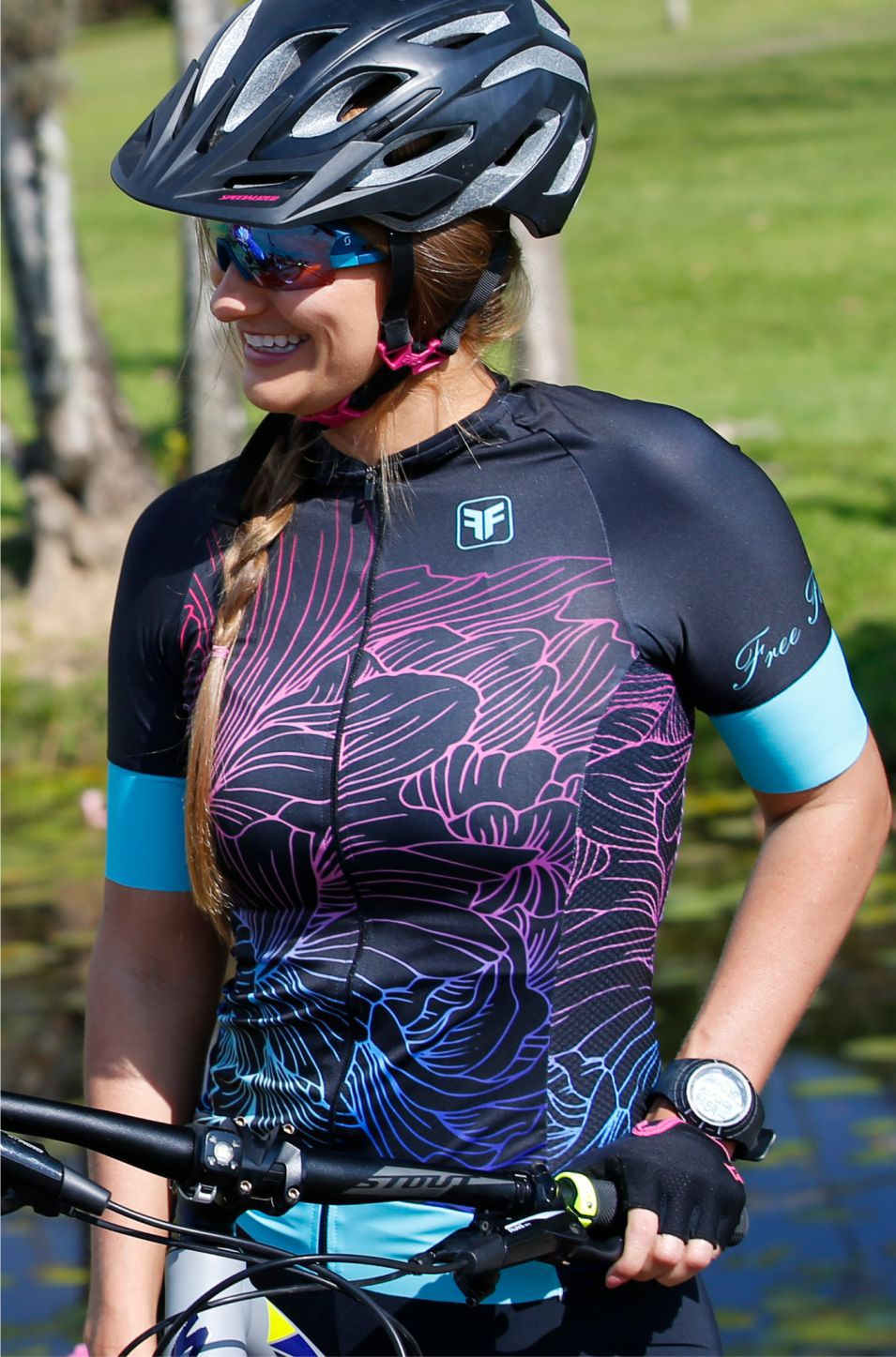 Camisa de Ciclismo Feminina Sport Glean Preta Free Force