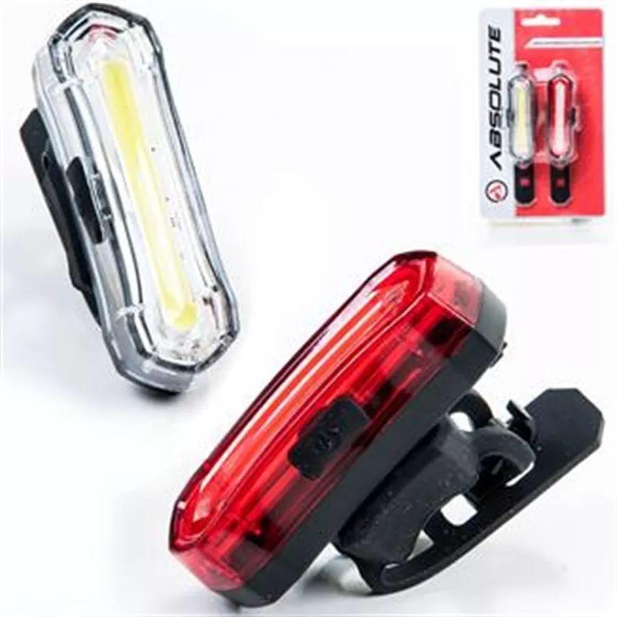 FAROL E PISCA ABSOLUTE LED - RECARREGÁVEL USB DIANTEIRO / TRASEIRO