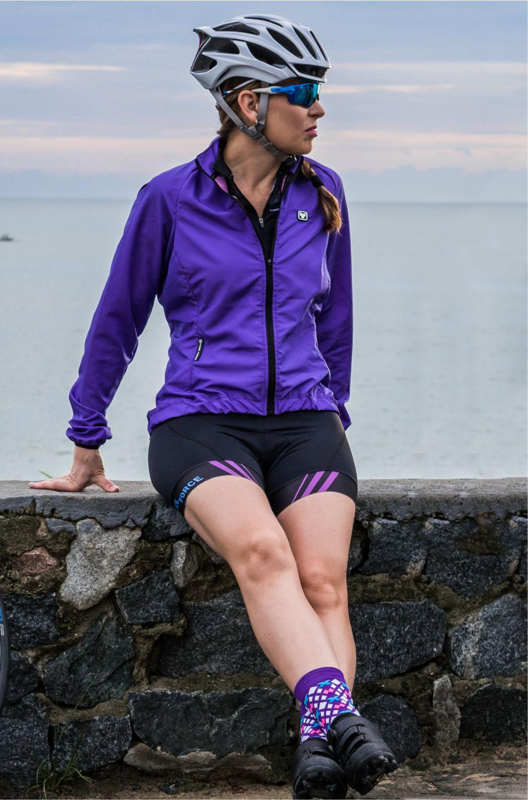 Jaqueta de Ciclismo Feminina Corta Vento Roxa Free Force
