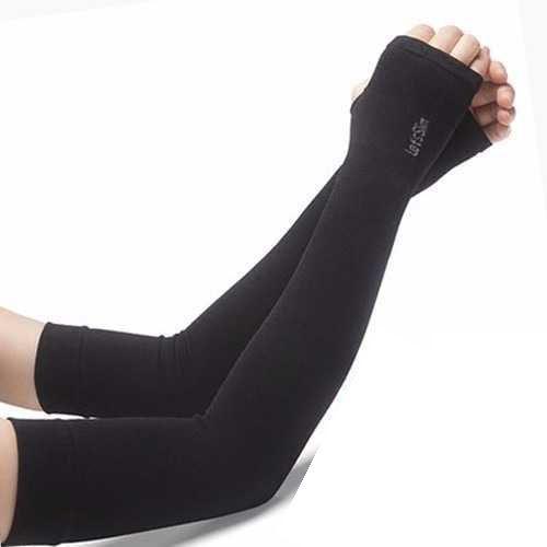 Manguitos de braço de compressão Slim da Let's - preto
