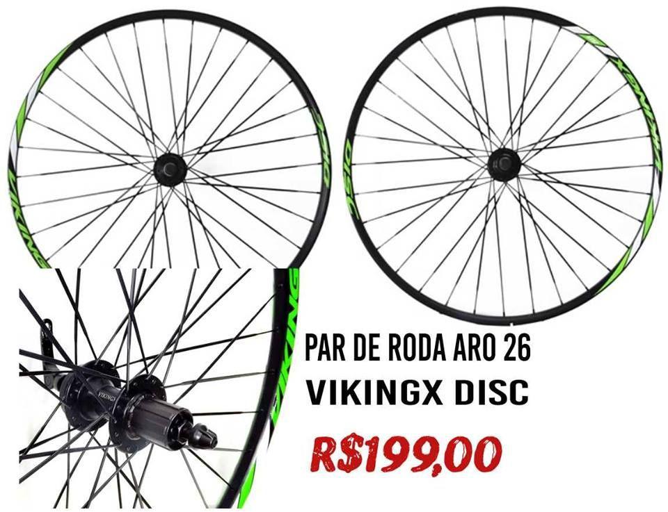 PAR DE RODA DISCO 26ER VIKINGX ALUMINIO 8/9 VELOCIDADES DISCO 32 FUROS