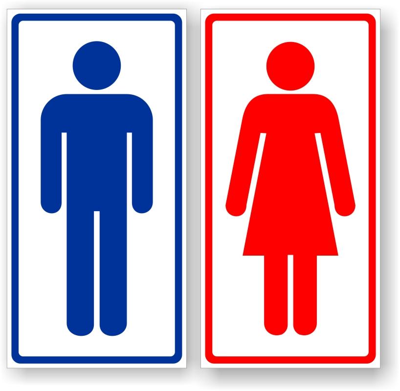 Placa de Sinalização Banheiro  Masculino + Feminino  PVC -> Placas Banheiro Feminino Para Imprimir
