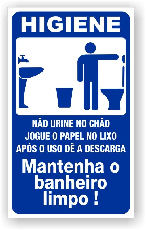 Higiene Para Banheiro : Placa de sinaliza??o higiene banheiro masculino pvc