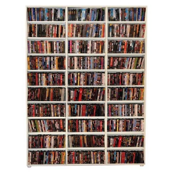 Estante para CD/DVD/Blu-ray/Gibi 525 DVDs/Blu-ray ou 1.020 CDs - Branco