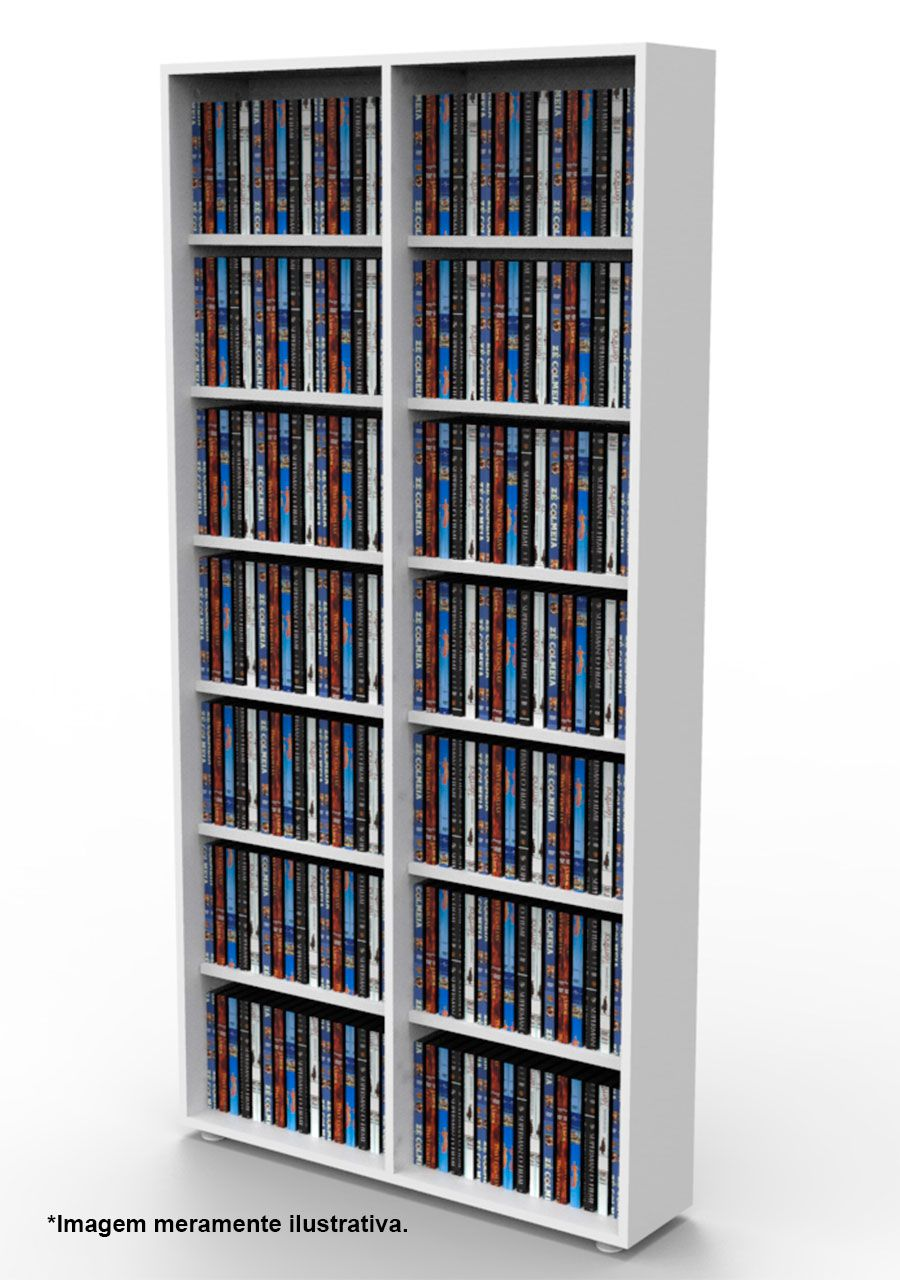 Estante para DVD Blu-ray 350 discos ou para gibis branca DV02BR Bürohaus